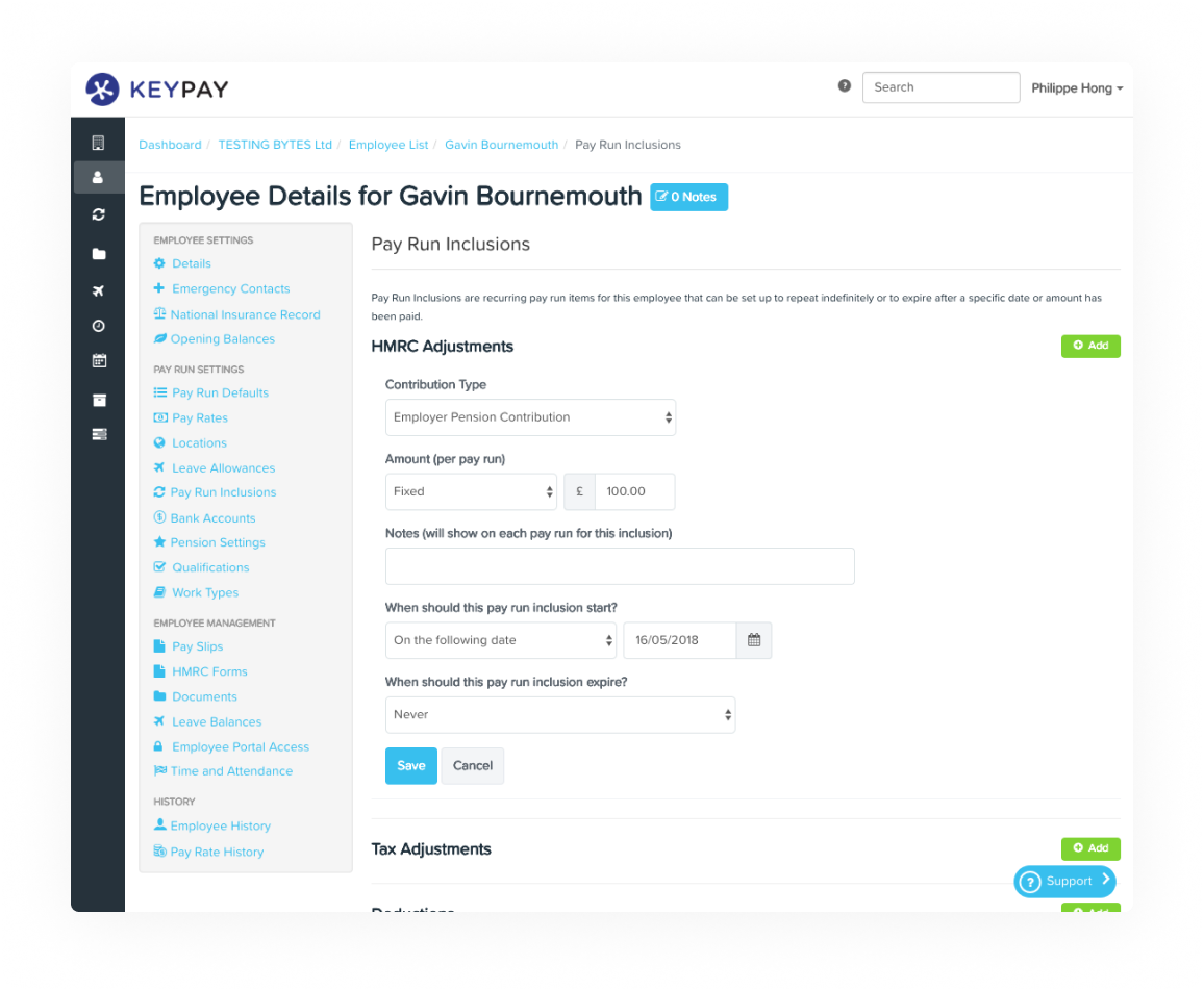 KeyPay UK employee details page - full GPDR compliance and HMRC RTI automation