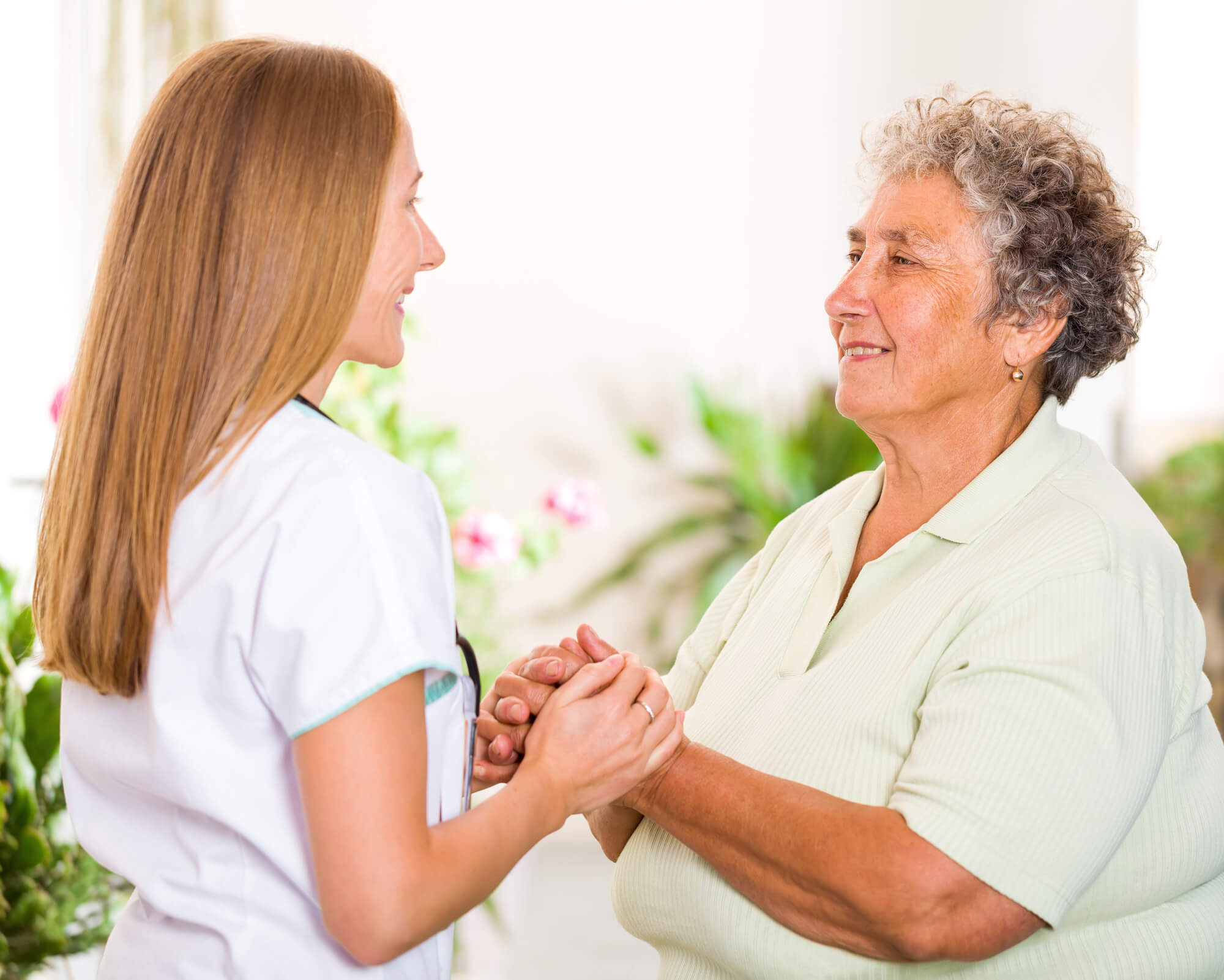 Patient and elderly woman at assisted living Oklahoma City