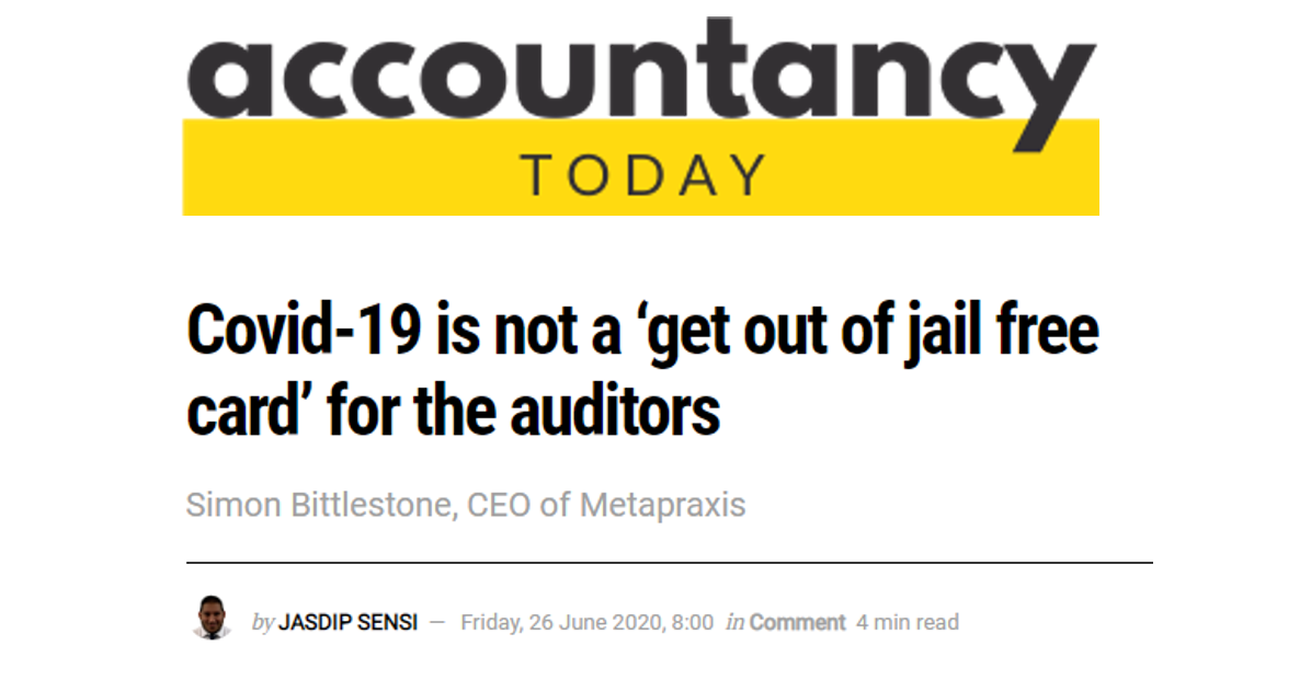 COVID19 is not a 'get out of jail free card' for auditors