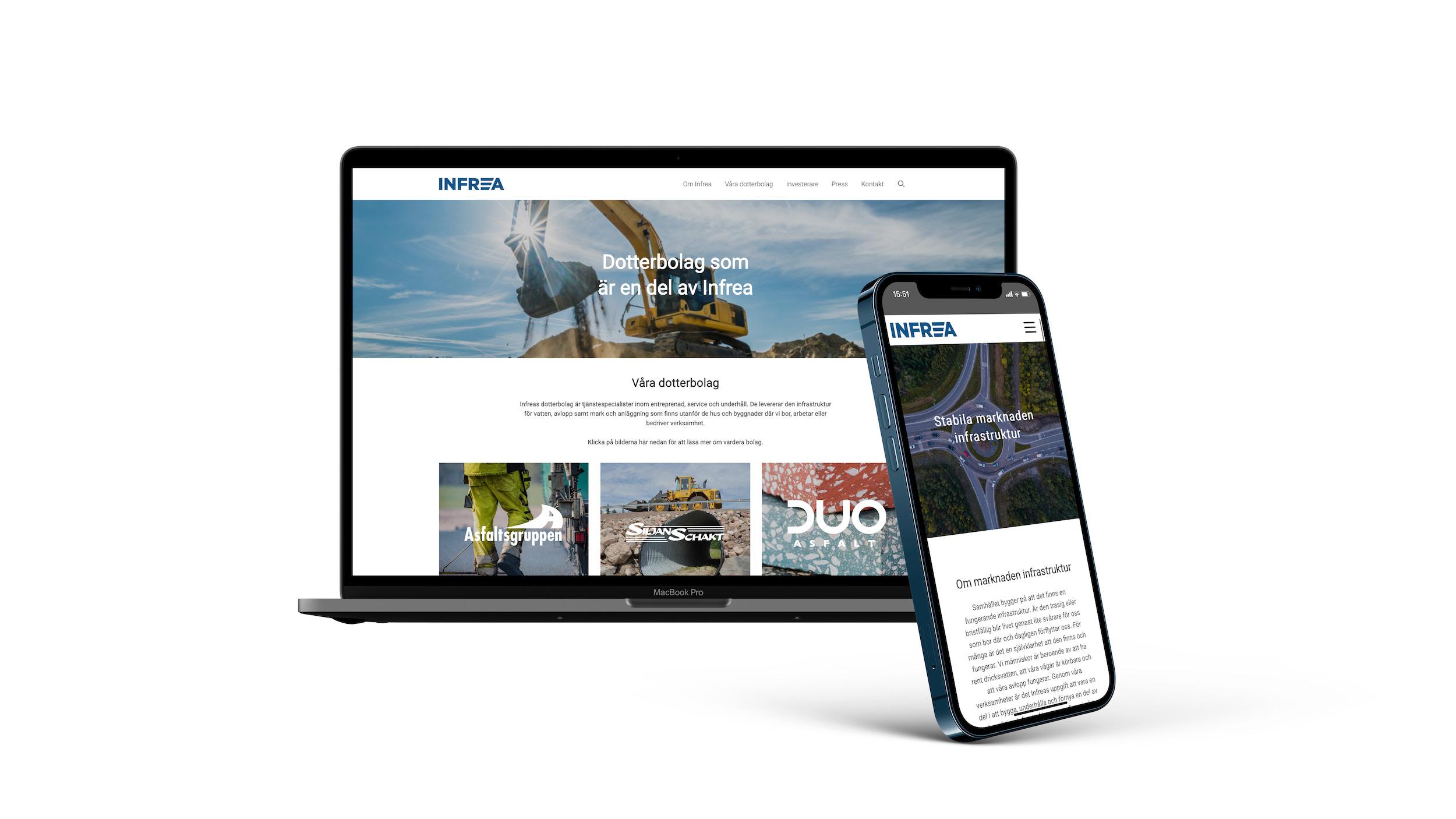 Börsnoterade Infrea fick en ny och SEO-optimerad webbsida.