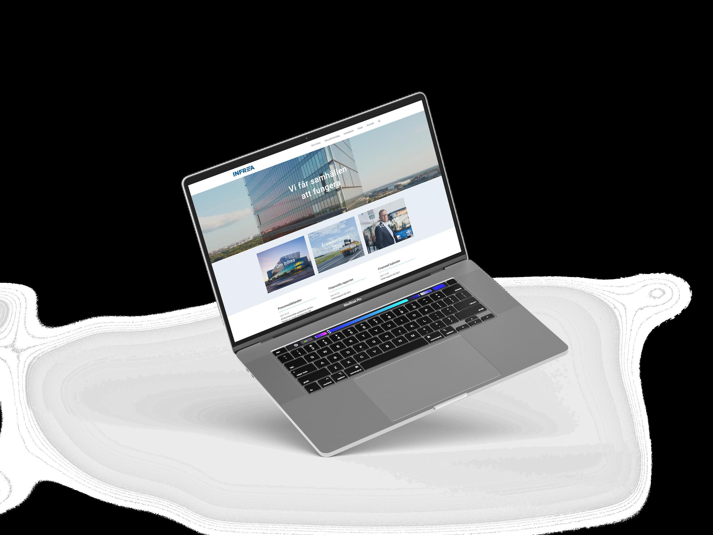 Mockup som visar Infreas nya webbsida.