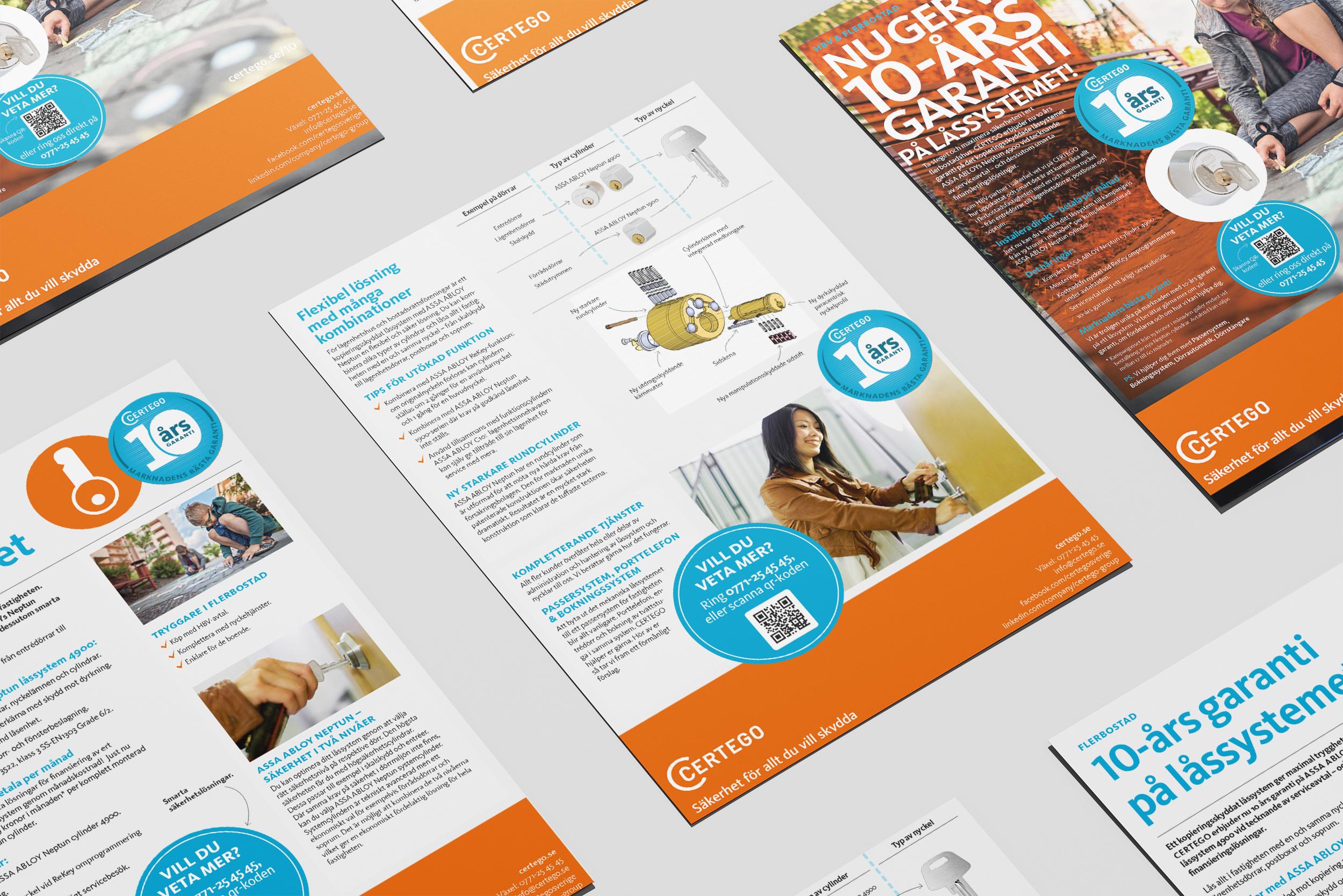 Annonsmaterial för CERTEGOs 10-års kampanj.