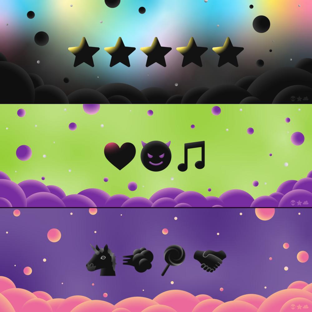 "Incoming visual transmission from Alien Star Cloud 👽⭐☁️: Custom designs using their genesis collection of ""Dark Emojis."""