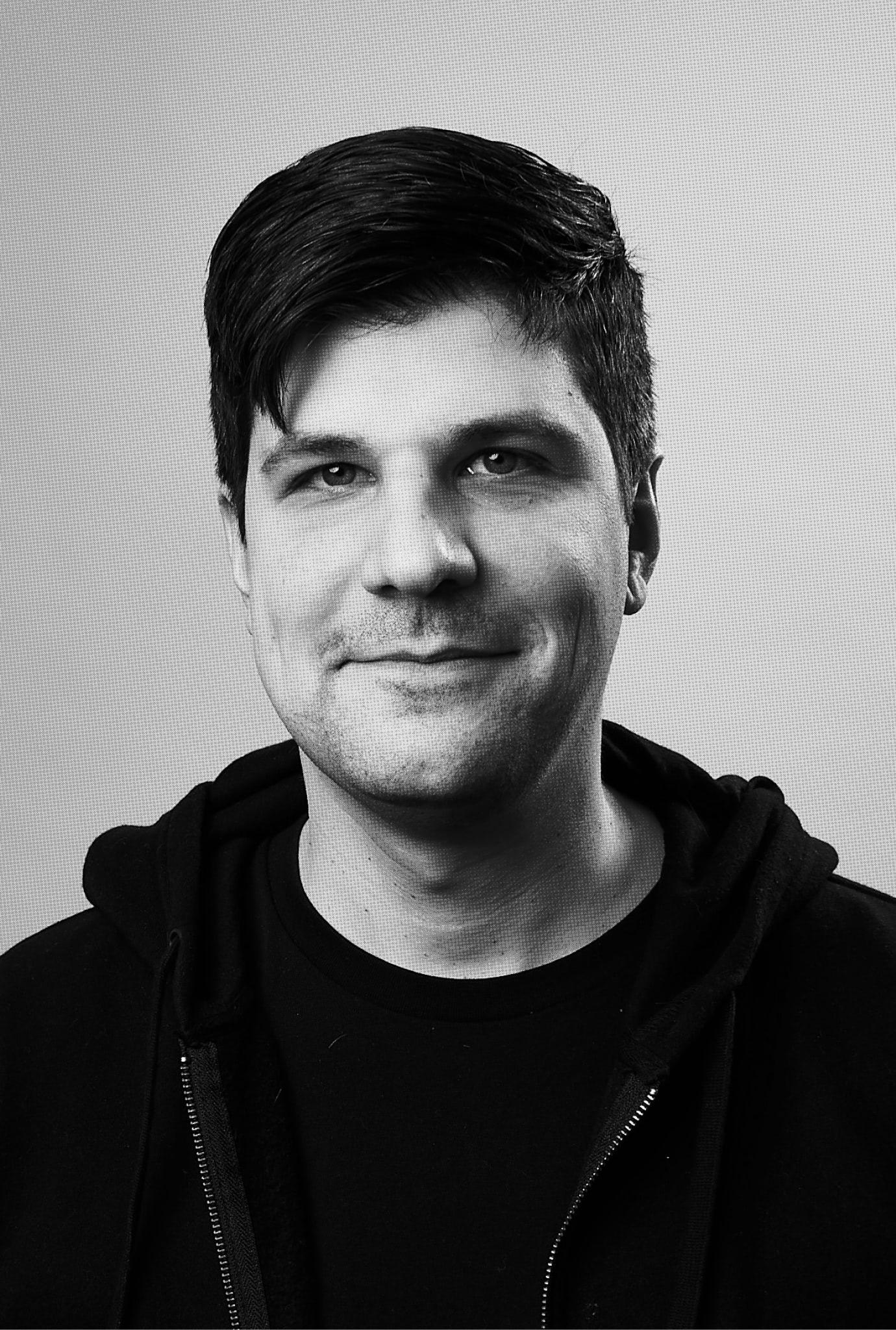 Photo of Marc Debiak in black and white