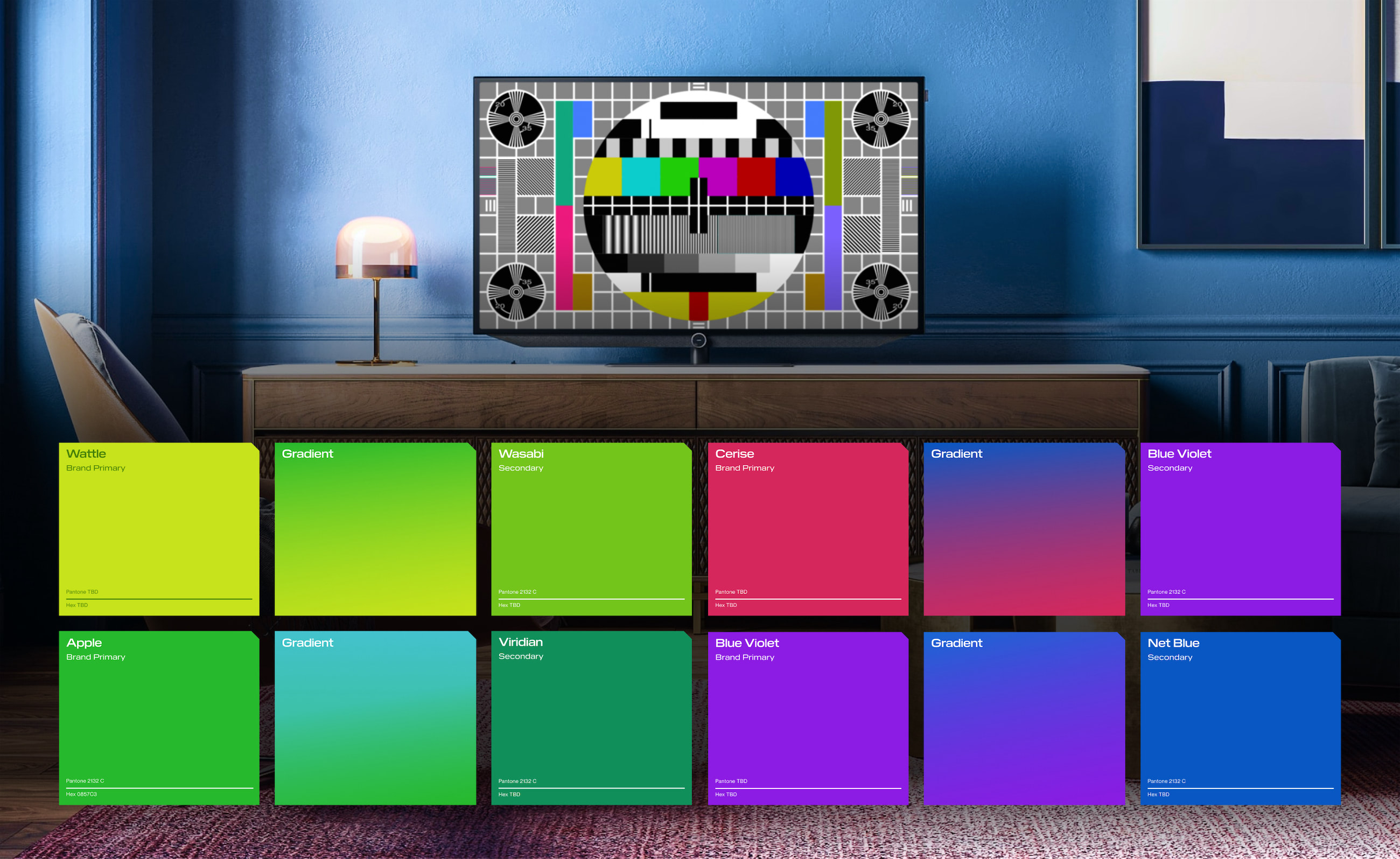 A flat screen TV showing a colorful test screen. Below are a series of colors and gradients we created for LTN that uses this test screen as inspiration.
