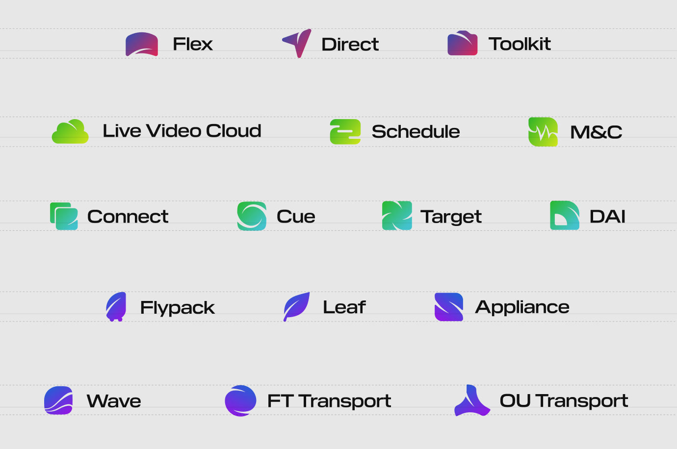 A grid of brand icons designed for all of LTN's services. Each one is a bright color and includes a gradient.