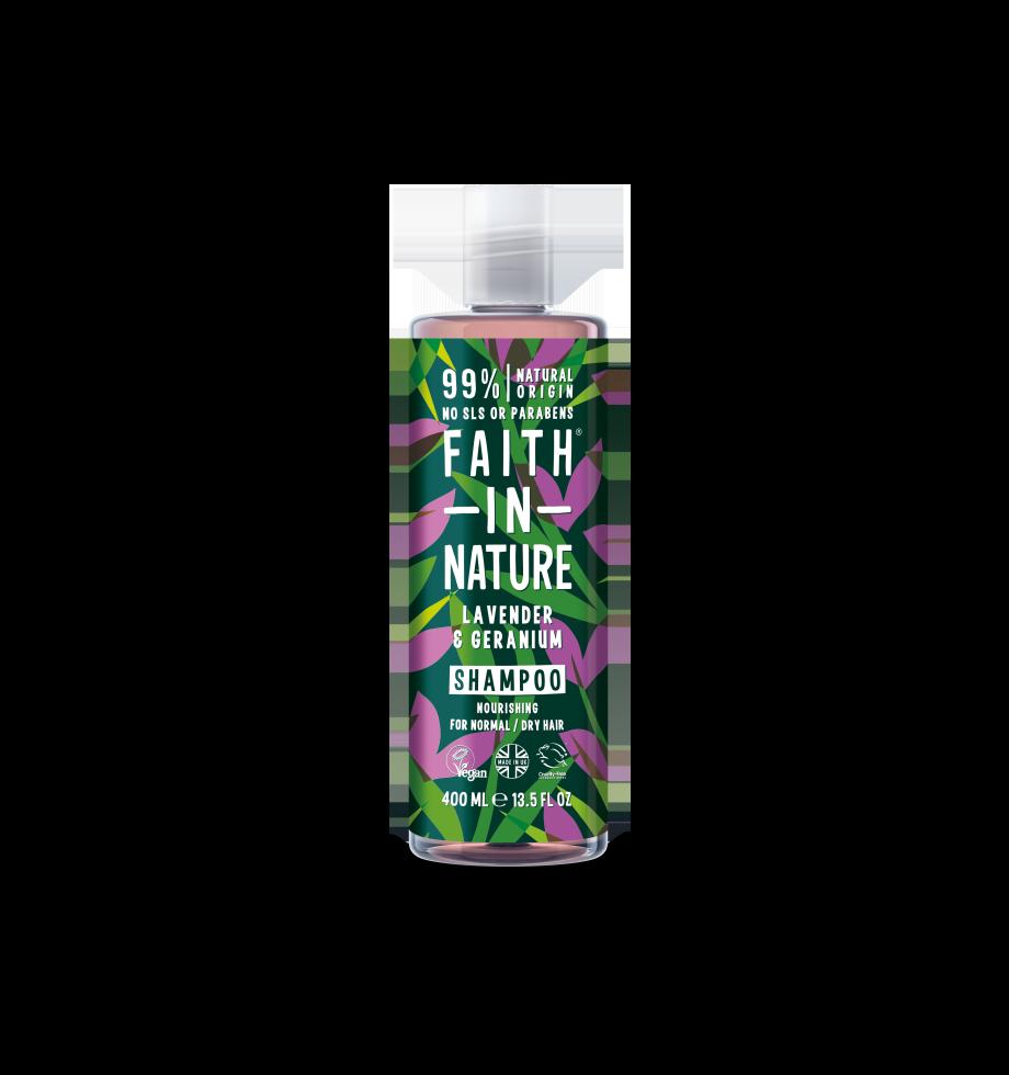 Lavender and geranium shampoo bottle