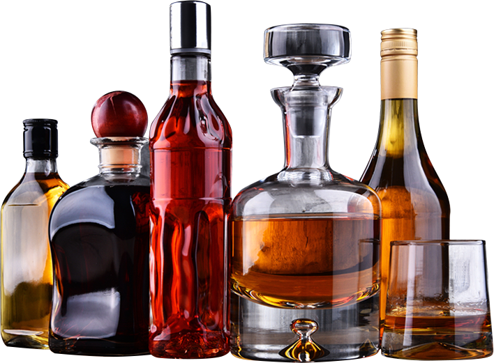a selection of unbranded alcohol