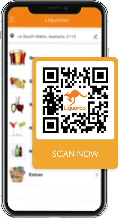an iphone showing the Liquoroo app with the download QR code