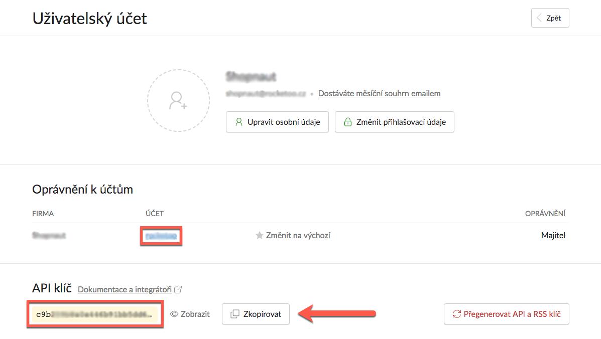 Uzivatelsky ucet na Fakturoid, ve kterem zakaznik zkopiruje API klic.