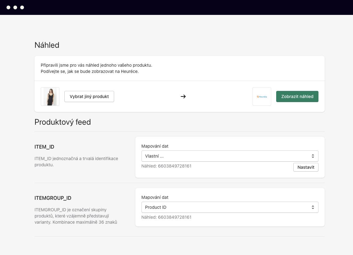 Heureka XML feed Shopify