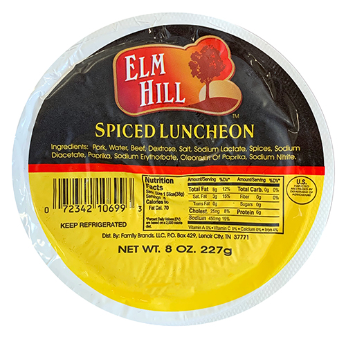 Elm Hill Meats - Spiced Luncheon Packaging