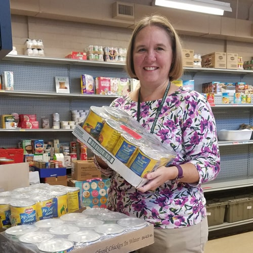 helping with food pantry