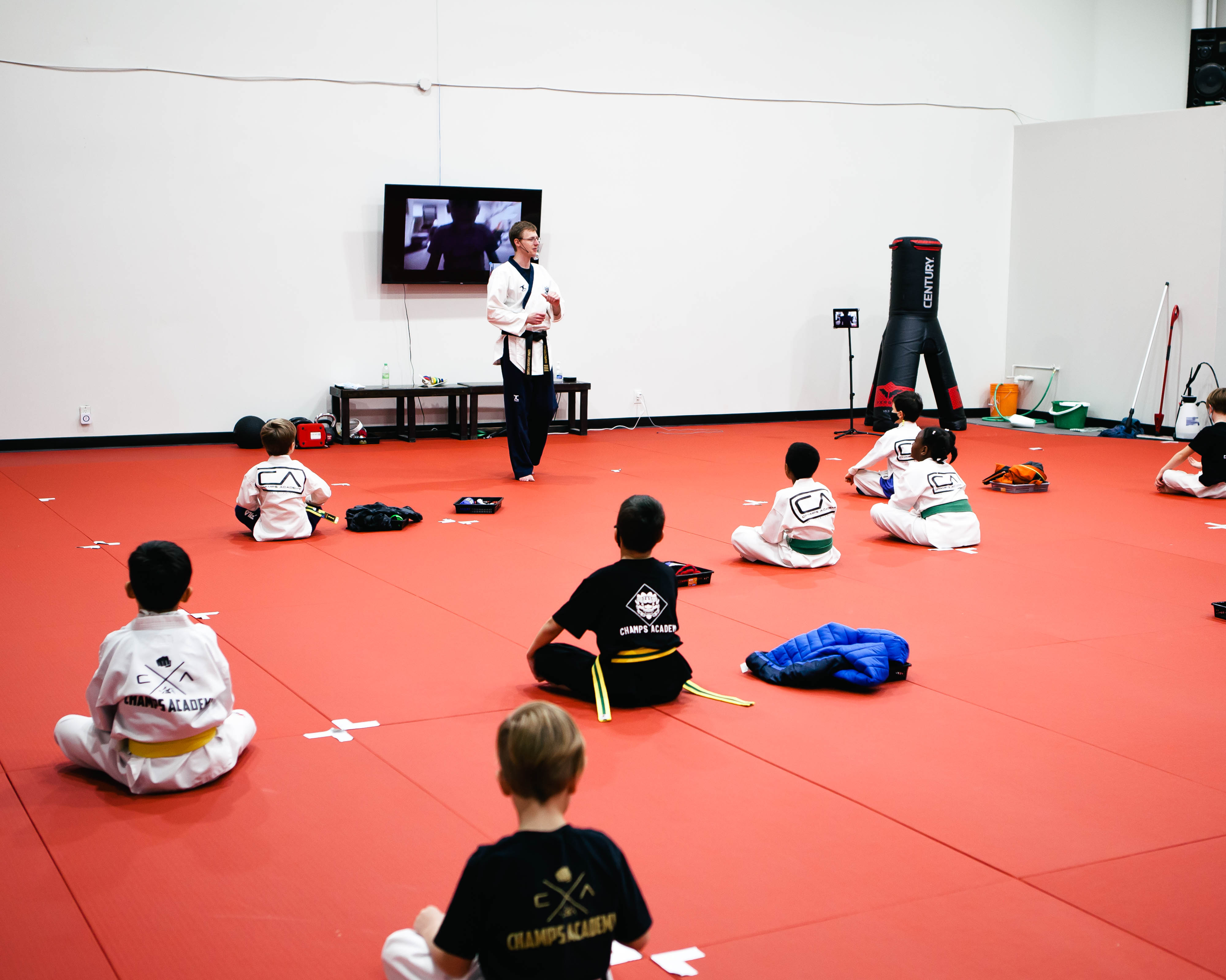 Taekwondo instructor teaching a class