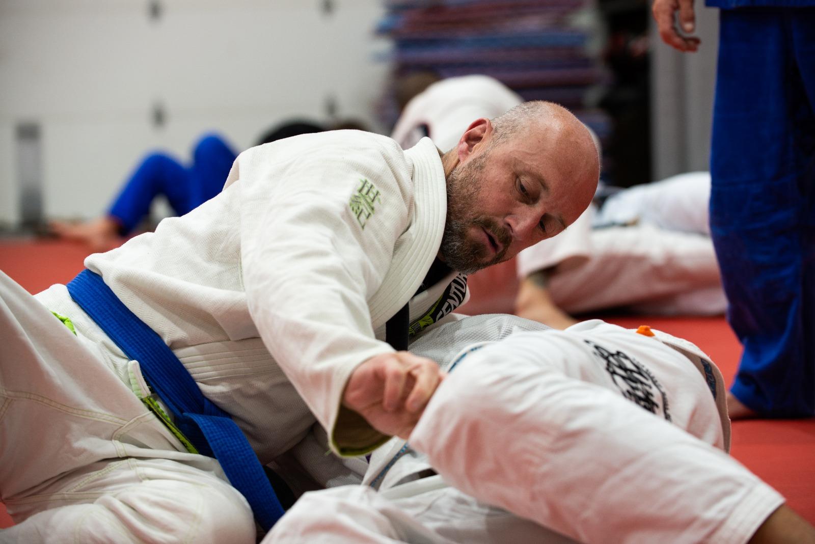 A man training Brazilian Jiu-Jitsu
