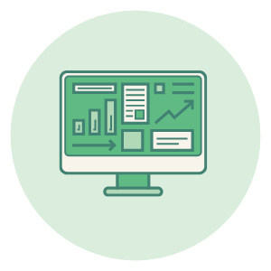 Icon of computer with analytics, used to discover customer insights.