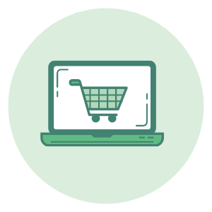 An icon of a laptop with a shopping cart on the screen to describe ecommerce and product insights.