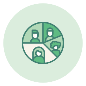 An icon that shows a pie chart of different customer segments.