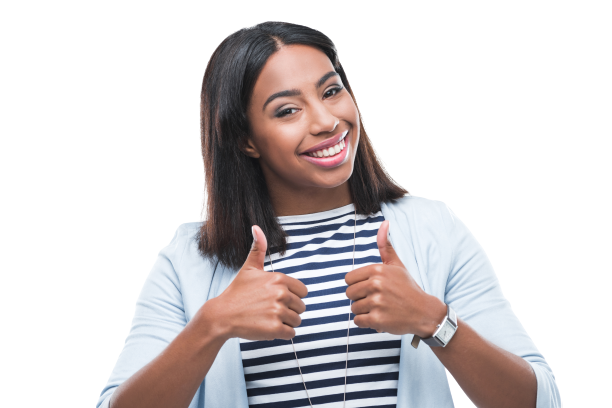 Smiling woman with two thumbs up