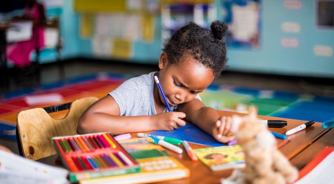 A child doing her homework