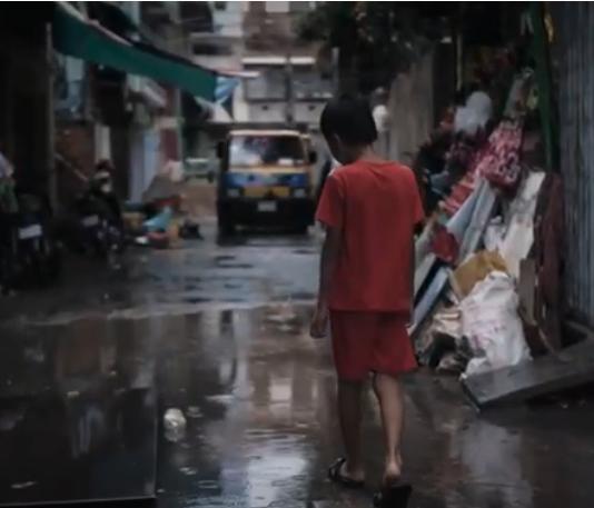 A child in the rain