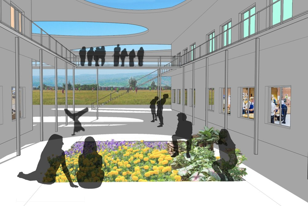 A picture depicting the future school-grounds