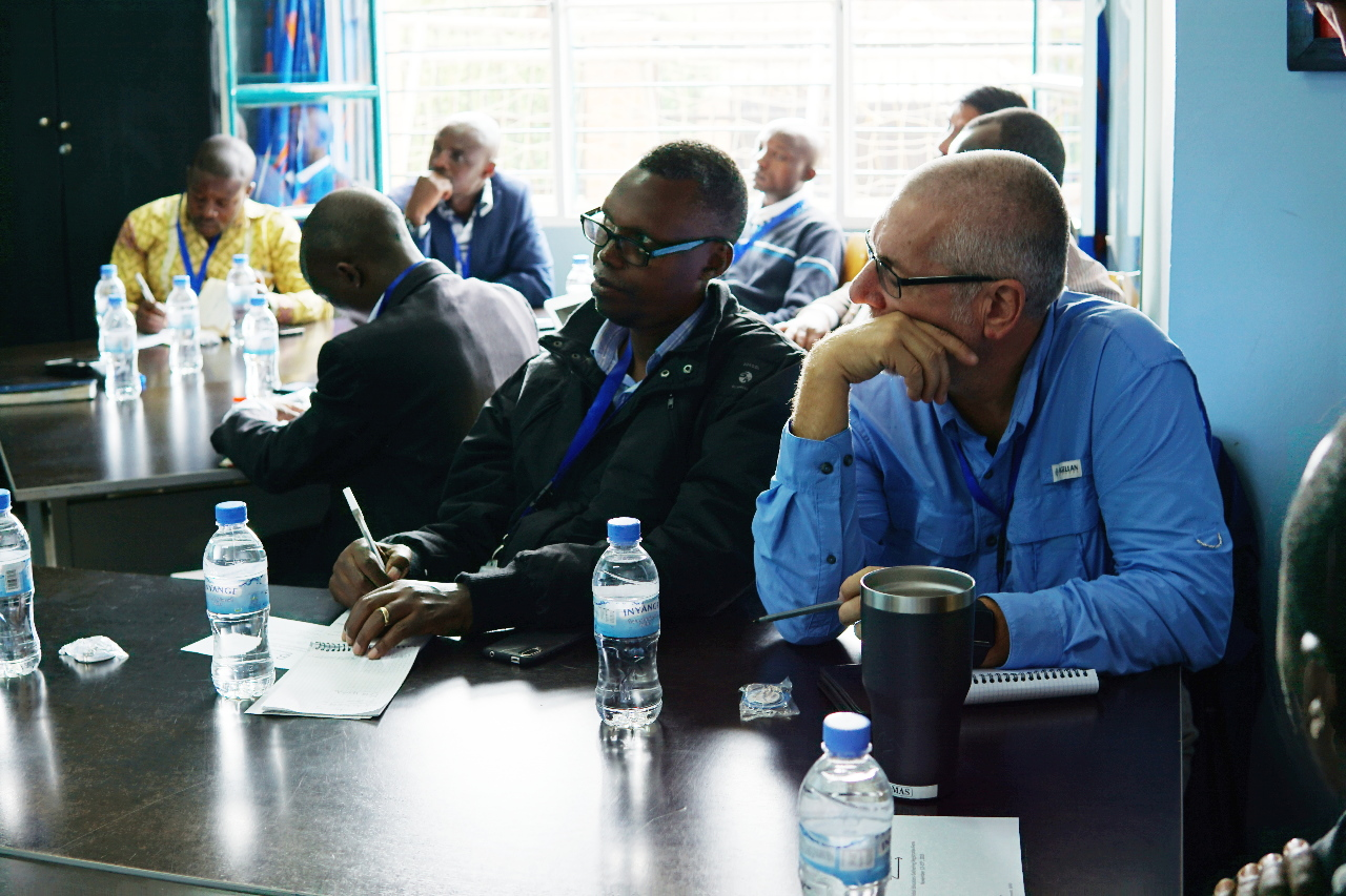 People listening to a presentation