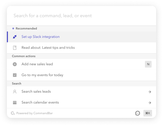 A screenshot that shows some commands being recommended and categorized.