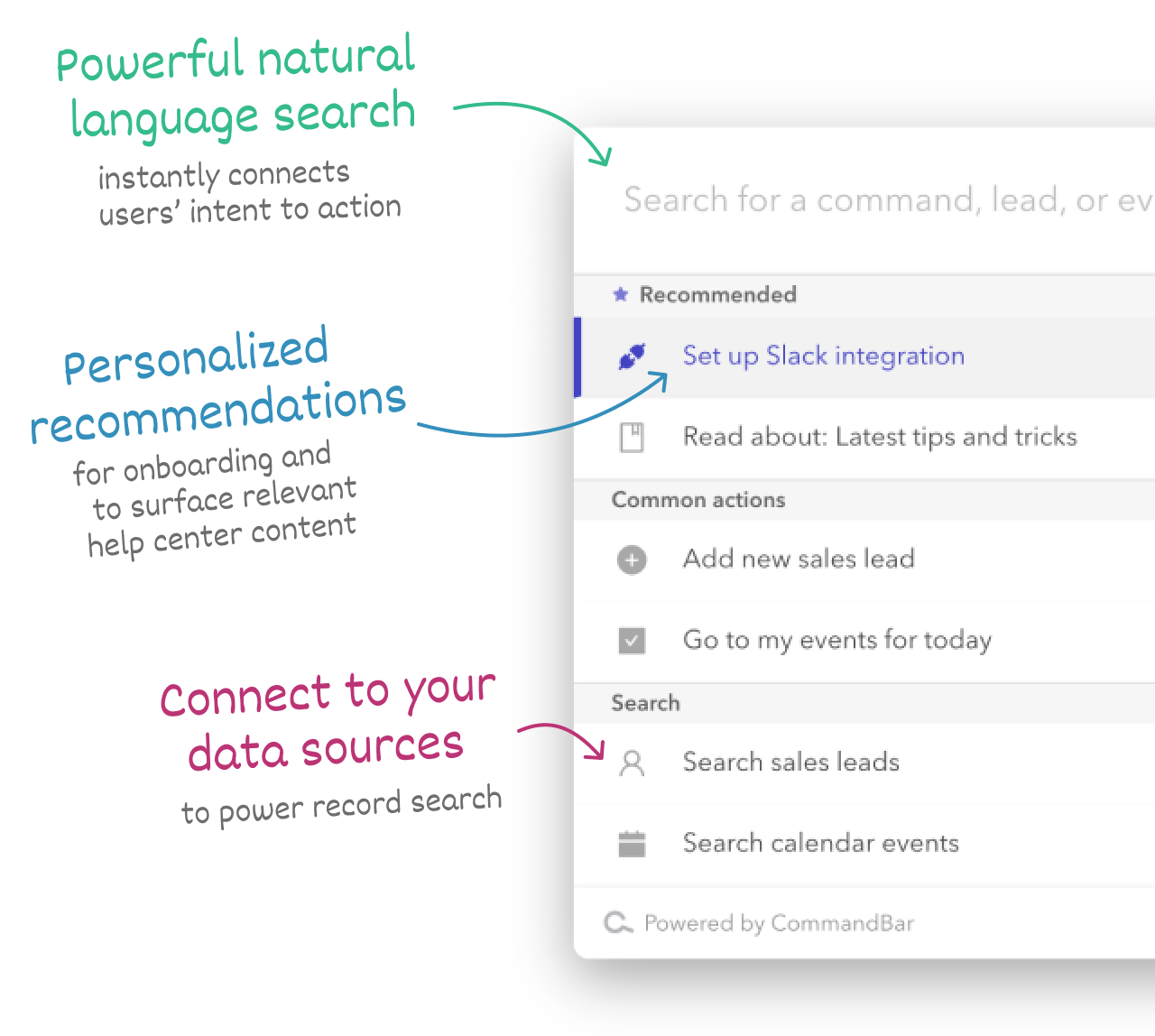 A visual walkthrough of CommandBar features. This includes natural language search and personalized recommendations.