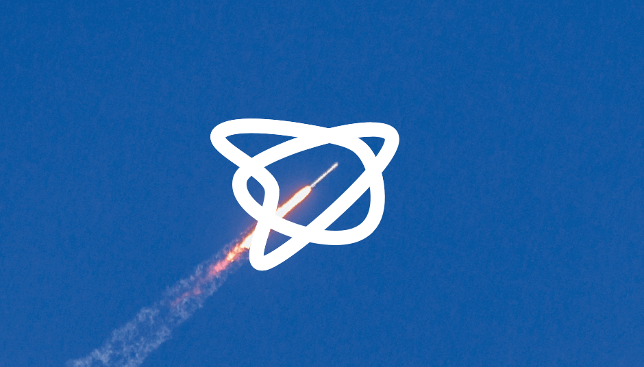 HelloFlow logo with rocket in the background