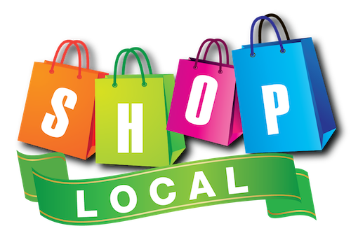 colorful shop local graphic with SHOP spelled in different color shopping bags