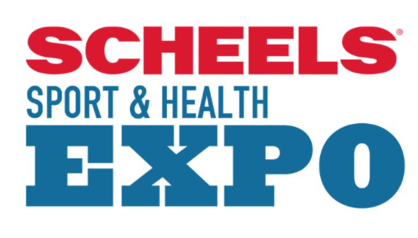 Scheels Sport & Health Expo in red and blue text