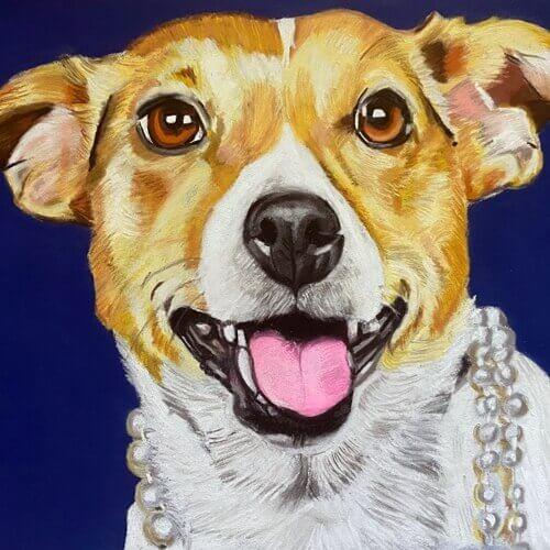Hondentekening Chanel Jack Russel Pasteltekening
