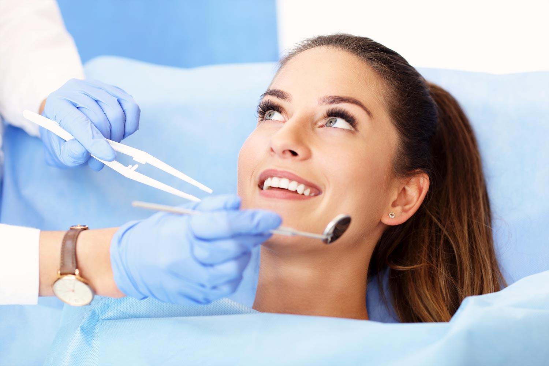 Waman receiving a fluoride treatment in Wellington, FL.