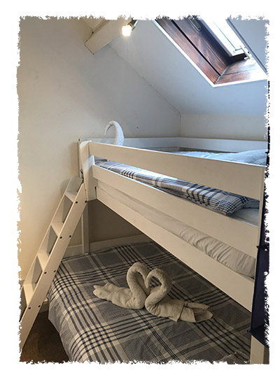 The bunk beds in Confidence Cottage, Staithes.