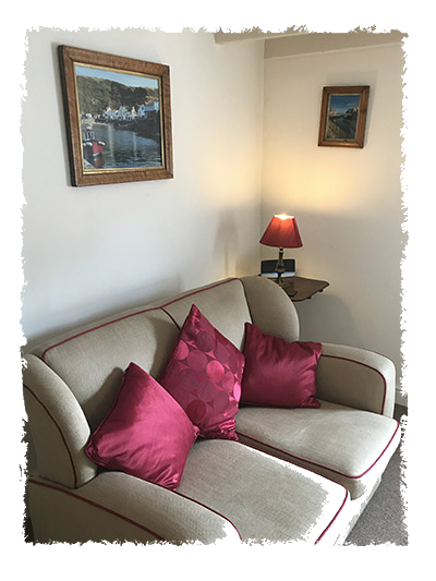 The lounge room in Confidence Cottage in Staithes.