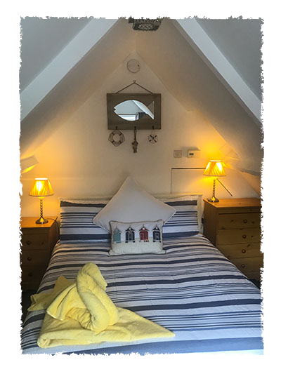 The master bedroom in Rose of England House, Staithes.
