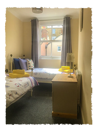 A view of one of the bedrooms in Rose of England House, Staithes.