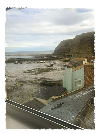 A view of the beach from one of the bedrooms in Rose of England House, Staithes.
