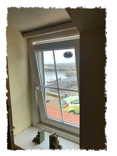 A view of the outside from one of the bedrooms in Shangri-La, Staithes.