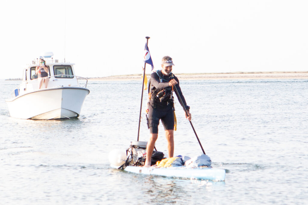 Adam paddles in to Brant Point the last stretch