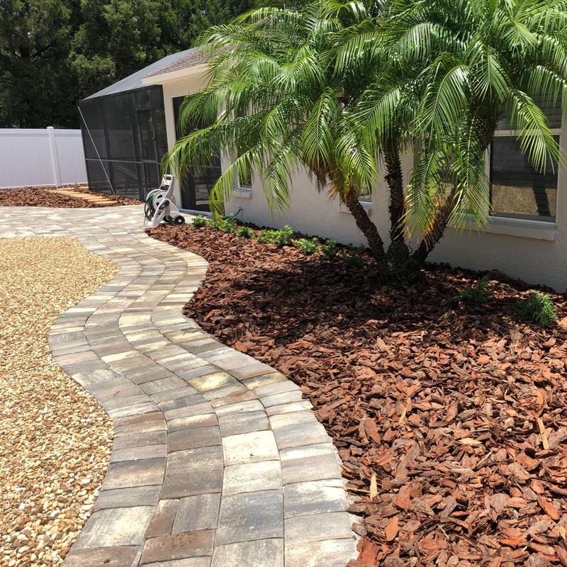 A fresh coat of mulch of a neat back yard in Parrish, FL.