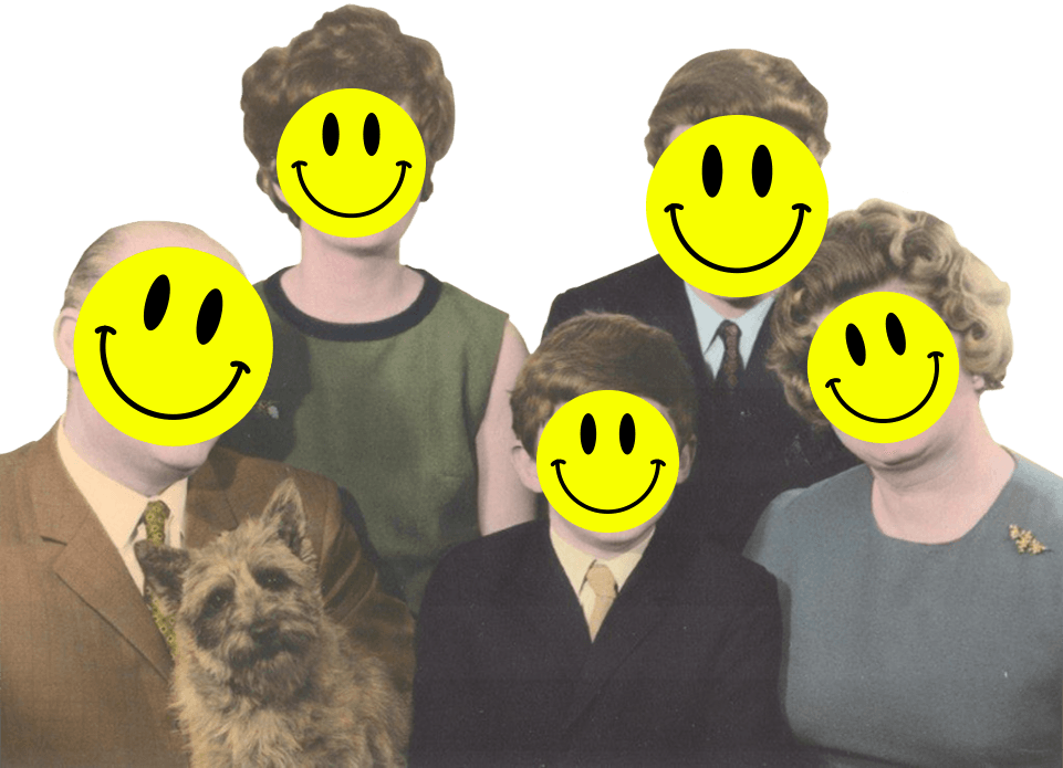 Retro family portrait with yellow smiley faces over the faces.
