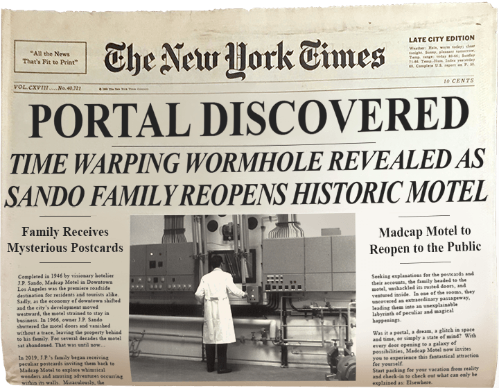 """Vintage newspaper with the headline """"Portal Discovered"""""""