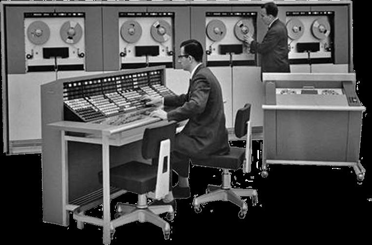 Scientists working on large vintage computers