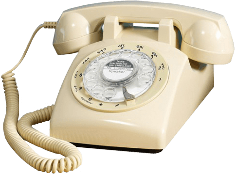Vintage telephone. Beige with a curly cord.