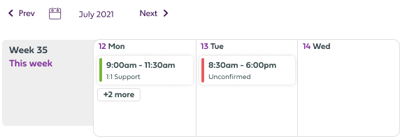 Calendar with upcoming shifts UI component image.