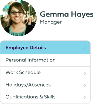 Employee profile menu image.