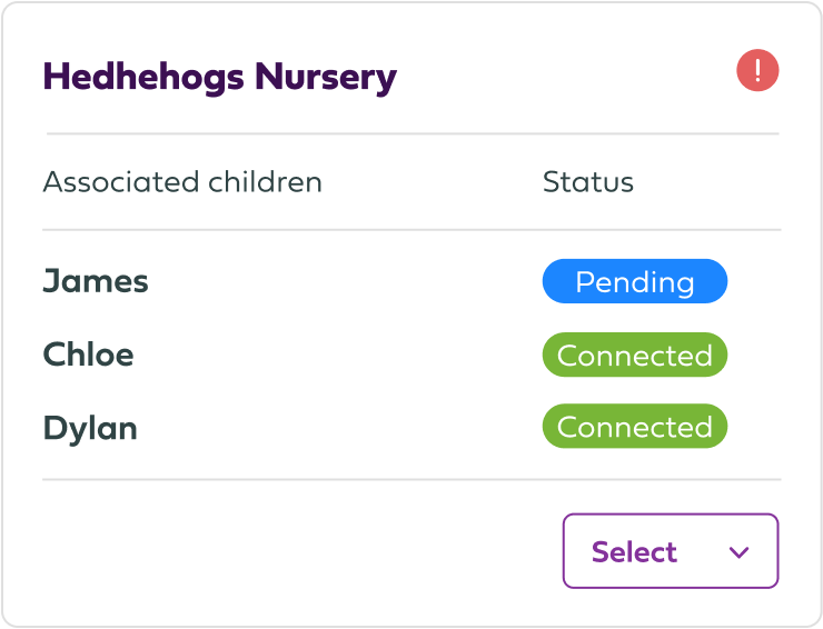 Connected providers list UI element image.
