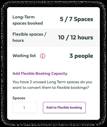 Booking types UI element image.